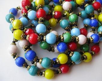 "Vintage 50s Italian Venetian Multi Color Art Glass Murano Bead 63"" Long Necklace"
