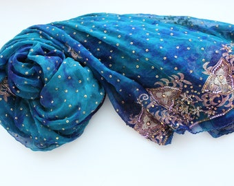 Indian vintage blue hand embroidered chiffon silk long dupatta scarf. Tie&dye scarf, palantine. Batik scarf, blue stole. SCM030
