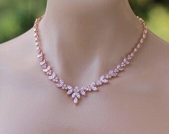 Rose Gold Bridal Necklace, Crystal Bridal Necklace, Rose Gold Wedding Necklace,  DENISE G