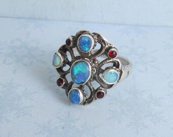 Arts and Crafts Austro Hungarian Sterling Opal Garnet Ring