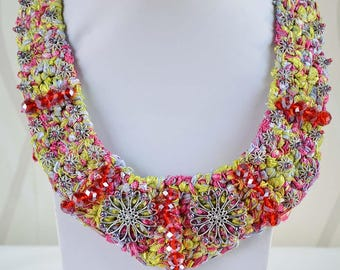 Handmade Crochet Crystal Beaded Necklace multicolor red and stone