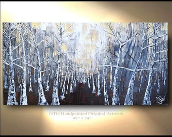 Original Painting Rustic Wall Decor Brown Gold Tan White Birch