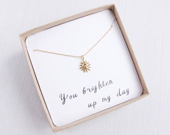 Tiny Sun Necklace | Gold Sun Necklace | Sun Necklace | Layering Necklace | Dainty Necklace | Delicate Necklace | Gift for her |Boho Necklace