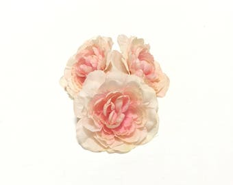 3 PEACHY PINK Blush Artificial Ranunculus- Artificial Flowers, Silk Flowers, DIY Wedding, Hair Accessories, Flower Crown, Millinery, Bouquet