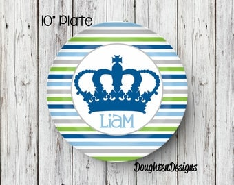 Personalized Melamine Plate, Prince Plate, King plate, personalized kids plate, Boy plate, 1st birthday plate, Prince crown plate, Melamine