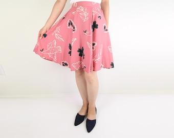 VINTAGE Circle Skirt 1990s ESPRIT Dove Floral Pink