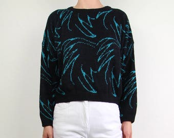 VINTAGE Palm Print Sweater 1980s Cropped Knit Black