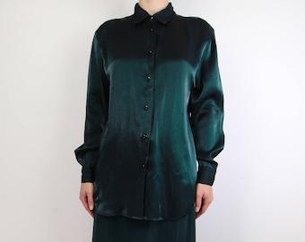 VINTAGE Green Blouse Metallic Shirt Longsleeve
