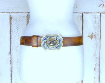 Vintage wide distressed brown thick leather western metal buckle belt/southwestern natural stone buckle leather belt/34