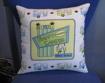"""Camping Pillow 17"""" X 17"""" HAPPY CAMPER MOTEL Vintage Shasta Trailers"""