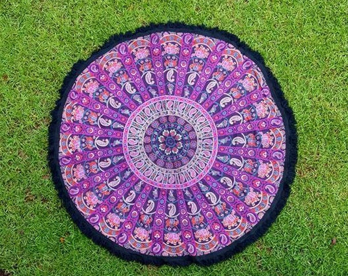 Ghoomer Pink and Black Mandala Roundie with Black Fringe Mandala Tapestry Beach Blanket Yoga Mat Meditation Mat Dorm Decor Hippie Tapestry