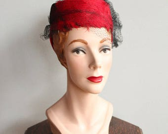 1930s Hat // Bright Red Feather Tilt Hat // vintage 30s feather hat