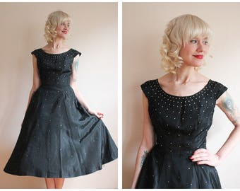 1950s Dress // Rhinestone Starlight Dance Taffeta Dress // vintage 50s dress