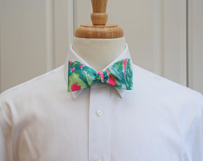 Men's Bow Tie, Guac and Roll teal/neon pink/lime Lilly print, wedding bow tie, groom/groomsmen bow tie, prom bow tie, Kentucky Derby bow tie