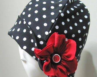 Cloche hat, 20' style,Cap,black&white,Hat,polka dot,Cotton,Spandex, Chemo Caps, Chemo Hat, Stretchy caps,Hat for chemotherapy.