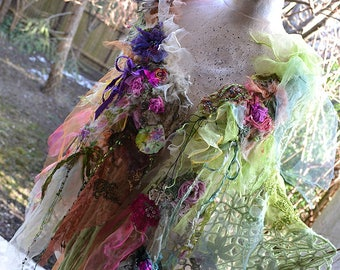 RESERVED Part Payment  Romantic Cape/Shawl/Poncho Spring Gipsy Forest PISTACHIO GIRL Antoinette Antique Deatails Fairy BohoTattered
