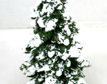 Resin Christmas Snow Covered Pine tree Decor textured 6""