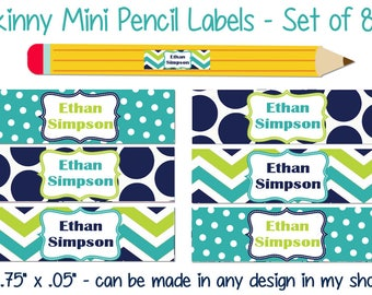 Skinny Pencil Labels, Waterproof stickers, Waterproof labels, Name Labels, Dishwasher Safe Daycare Label, School Labels, Boy Pencil Labels