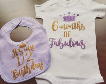 Half Birthday girl bodysuit and bib set, purple and gold, half birthday, sparkly shirt, 6 month birthday, cake smash, 6 months of fabulous