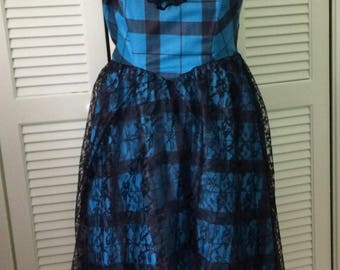 Vintage dress,by Purrs, size 7/8, plaid , black lace,  REDUCED, rockabilly, Homecoming, Steampunk prom