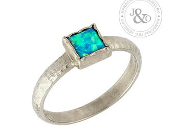 Blue Opal Ring - Blue Opal Ring Silver - Gold Ring Blue Opal - White Gold Opal Ring - 14k Opal Ring - 14k White Gold Opal Ring