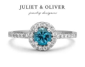 London Blue Topaz Engagement Ring - London Blue Topaz Ring - 14k Blue Topaz Ring White Gold - Diamond Halo Blue Topaz Ring