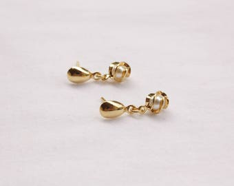 Gold Pearl Post Earrings, White Simulated Pearls, Ready to Ship