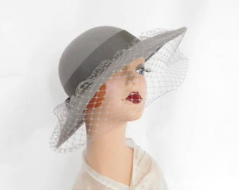 1960s vintage hat, gray women's wide brim tilt hat
