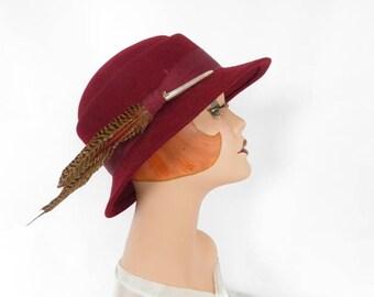 Fedora vintage hat, maroon with feather, burgundy tilt