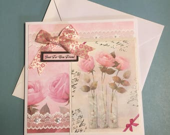 Pink feminine card - birthday - thank you - friendship