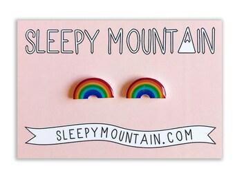 Rainbow Earrings - Sleepy Mountain Studs