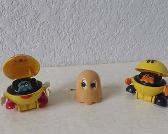 Three Vintage Pac Man Wind up toys, Pac Man, Ms Pac Man and the Ghost, 1980s