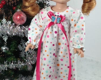 14 inch doll clothes-made to fit like Wellie Wisher-Nightgown and Slippers-Christmas-Stocking Stuffers