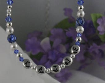 ON SALE Pearl and Sterling Silver Birthstone Personalized Necklace for the Little Girl