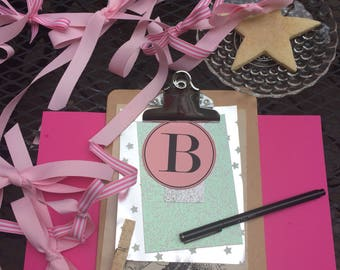 baby shower clipboard . baby girl . notes . organization . glitter tags . place cards . tags . wishes tag . glitter clothespin . clipboard .