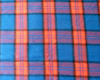 Red & Blue Plaid Fabric  Brushed Acrylic Lumberjack Yardage Vintage 1970's Reversible