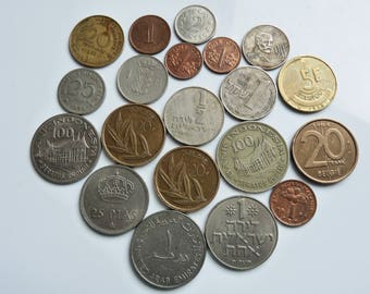 Vintage World Coins ~ Malaysia Israel UAE Belgium France Singapore Malta Spain - 20 Coins - 1960s to 1990s