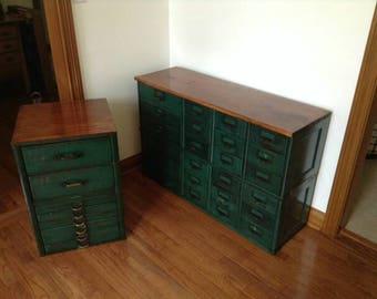 Industrial Printers Cabinet 1902 - antique cabinet - vintage furniture