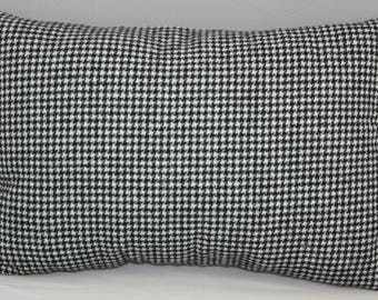 Lumbar Pillow Hounds tooth Masculine Style Black and White  14 x 9 inches