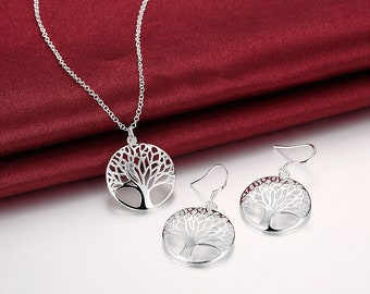 925 Sterling Silver Filled Tree of Life Charm Pendant Necklace Earrings Set