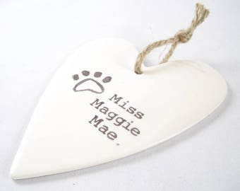 CUSTOM DOG ORNAMENT, large heart shaped ornament on white ceramic, personalized dog name and paw print, custom valentine gift for dog owner