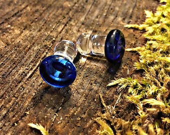 Blue Button snug 2g Double Flare gauged ear plugs earrings for stretched piercings Made to Order
