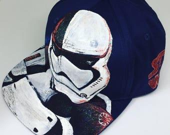 Starwars Stromtrooper Last Jedi version Fan Art Handpainted Navy Snapback Hat with adjustable band at the back
