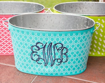 Monogrammed Beverage Tub - Colored Neoprene Cover - Personalized Gift - Wedding Shower Gift - Party Tub - Drink Cooler - Galvanized Tub