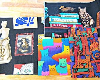 Fabric Destash, Fabric Bundle, Cat Fabric, Fabric Remnants, Cotton Quilting Fabric, Fabric Scraps, Animal Fabric, Cat Print