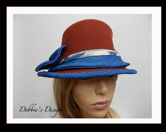 Women's Fur Felted Cloche Hat-599 One of a Kind, Women's Cloche Hat, Cloche Hats, Fur Felt Cloche Hat, cloche felted hat, Downton abbey