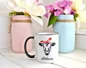 Cow Gift - Personalized Cow Mug - Best Friend Gift - Printed Design