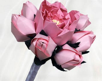 Origami Peony with Rose Bud Bouquet