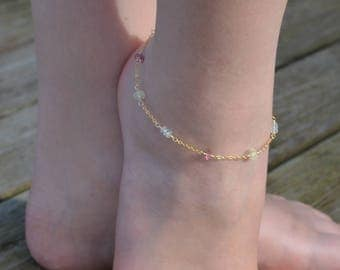 Gemstone Anklet, Gold Filled Jewelry, Blue and Pink Topaz with Prehnite, Genuine Stone, Mint Green, Dainty Summer Jewelry, Free Shipping