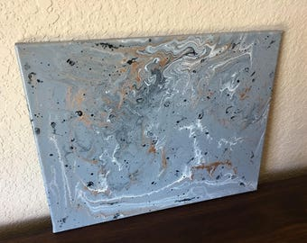 OOAK 11x14 Abstract Acrylic Pouring on Stretched Canvas